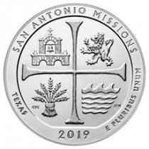 2019 San Antonio Missions Historical Park 5 oz. Silver ATB America the Beautiful Coin GEM BU