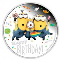 2019 Niue Minions - Happy Birthday 1 oz Silver Colorized Proof $2 Coin GEM Proof