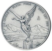 2019-Mo Mexico 2 oz Silver Libertad Antiqued 2 Onza Coin GEM BU