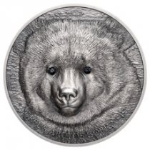2019 Mongolia Wildlife Protection - Gobi Bear with Swarovski Crystal High Relief 1 oz Silver Antiqued 500 Togrog Coin GEM BU OGP