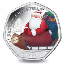 2020 British Indian Ocean Territory Father Christmas Heptagonal 8 g Clad Colorized 50p Coin GEM BU