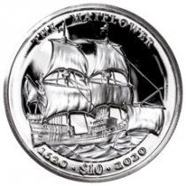 2020 British Virgin Islands Mayflower - 400th Anniversary Ultra High Relief 2 oz Silver Proof $10 Coin GEM Proof