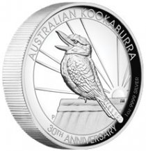 2020-P Australia 1 oz High Relief Silver Kookaburra - 30th Anniversary Proof $1 Coin GEM Proof