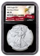 2020 1 oz American Silver Eagle $1 Coin NGC MS70 FDI Black Core Holder Exclusive Eagle Label