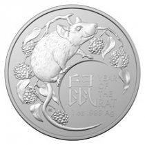 2020 Australia Lunar Year of the Rat 1 oz Silver $1 Coin GEM BU