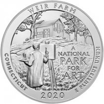 2020 Weir Farm National Historic Site 5 oz. Silver ATB America the Beautiful 25C Coin GEM BU