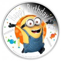 2020 Niue Minion Happy Birthday 1 oz Silver Colorized Proof $2 Coin GEM Proof OGP