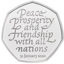 2020 Great Britain Withdrawal from the European Union Heptagonal 8 g Silver Proof 50p Coin GEM Proof OGP