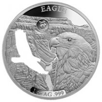 2020 Barbados Shapes of America - Cut-Out High Relief 1 oz Proof-Like Silver $5 Coin Eagle
