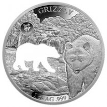 2020 Barbados Shapes of America - Cut-Out High Relief 1 oz Proof-Like Silver $5 Coin Grizzly