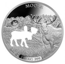 2020 Barbados Shapes of America - Cut-Out High Relief 1 oz Proof-Like Silver $5 Coin Moose