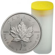 Roll of 25 - 2020 Canada 1 oz Silver Maple Leaf $5 Coins GEM BU