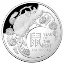 2020 Australia Lunar Year of the Rat Domed 1 oz Silver Proof $5 Coin GEM Proof OGP
