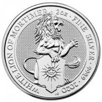 2020 Great Britain 2 oz Silver Queen's Beasts - White Lion of Mortimer £5 Coin GEM BU