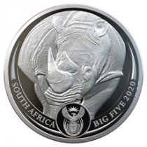 2020 South Africa Big 5 - African Black Rhino 1 oz Silver Proof R5 Coin GEM Proof