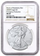 2020-(P) 1 oz Silver American Eagle Struck at Philadelphia $1 Coin NGC MS69