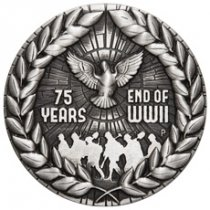 2020-P Australia 75th Anniversary of the End of WWII 2 oz Silver Antiqued $2 Coin GEM BU