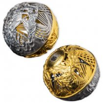 2021 Samoa Heaven and Hell Spherical 2 oz Silver w/ Gold Plating Antiqued $5 Coin GEM BU in Display Case