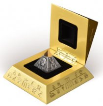 2021 Djibouti Pyramid of Khafre 3D Shaped 5 oz Silver w/ Gold Plating Antiqued Fr250 Coin BU