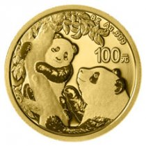 2021 China 8 g Gold Panda ¥100 Coin GEM BU