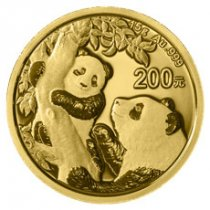 2021 China 15 g Gold Panda ¥200 Coin GEM BU