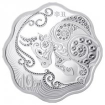 2021 China Year of the Ox Blossom Shaped 30 g Silver Lunar Proof ¥10 Coin GEM Proof OGP