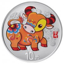 2021 China Year of the Ox 30 g Silver Lunar Colorized Proof ¥10 Coin GEM Proof
