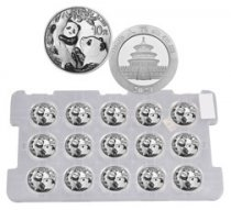 Sheet of 15 - 2021 China 30 g Silver Panda ¥10 Coins GEM BU
