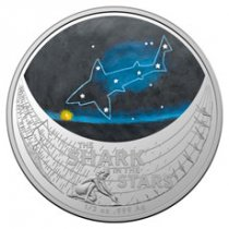 2021 Australia Star Dreaming - The Shark in the Stars 1/2 oz Silver Colorized $1 Coin GEM BU