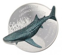 2021 Solomon Islands Giants of Galapagos - Whale Shark Shaped 1 oz Silver Proof Like $2 Coin GEM Prooflike