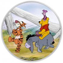 2021 Niue Disney Characters - Winnie the Pooh & Friends 1 oz Silver Colorized Proof $2 Coin GEM Proof