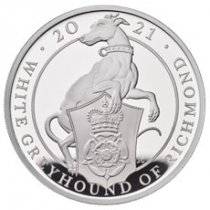 2021 Great Britain 1 oz Silver Queen's Beasts - The White Greyhound of Richmond £2 Proof Coin GEM Proof