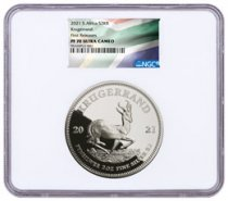 2021 South Africa 2 oz Silver Krugerrand Proof R2 Coin NGC PF70 UC FR White Core Holder South African Flag Label