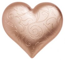 2021 Palau Rosy Heart 3D Heart Shaped 1 oz Silver Rose Gold Gilt Satin Finish Proof $5 Coin GEM Proof OGP