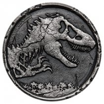 2021 Niue Jurassic World - Cracked High Relief 2 oz Silver Antiqued $5 Coin GEM BU