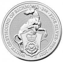 2021 Great Britain 2 oz Silver Queen's Beasts - The White Greyhound of Richmond £5 Coin GEM BU