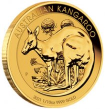2021-P Australia Gold Kangaroo 1/10 oz Gold $15 Coin GEM BU