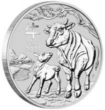 2021-P Australia 1 oz Silver Lunar Year of the Ox $1 BU Coin GEM BU