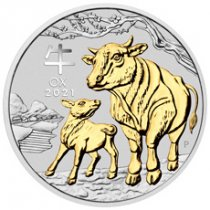 2021-P Australia Year of the Ox 1 oz Silver Lunar Series III Gilded $1 Coin GEM BU OGP
