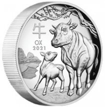 2021-P Australia Year of the Ox 1 oz Silver High Relief Lunar Series III Proof $1 Coin GEM Proof OGP