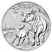 2021-P Australia 1/2 oz Silver Lunar Year of the Ox $0.50 BU Coin GEM BU