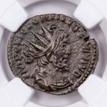 Romano-Gallic Empire, Billon Double Denarius of Victorinus (AD 269-271) NGC AU - South Petherton Hoard