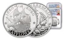 2-Piece Set - GB/US 2020 1-oz Silver Mayflower Scarce and Unique Coin Division NGC PF70 400th Anniversary FR Chris Costello Signed Mayflower Label