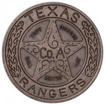 Intaglio Mint 2 oz Silver Round Texas Rangers Badge Antiqued BU