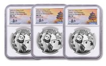 3-Piece Set - 2021 China 30 g Silver Panda - 3-Mint Set ¥10 Coins Scarce and Unique Coin Division NGC MS70 FR Tong Signature