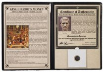 Roman Province of Judaea, King Herod the Great (40-4 BC) Bronze Prutah (Presentation Portfolio with COA)