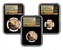 2019 South Africa Gold Krugerrand - 3-Coin Mini Gold Fractional Set Proof Coin Scarce and Unique Coin Division NGC PF70 UC FDI Tumi Signed Label