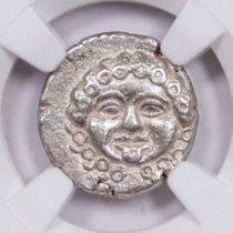 Greek Colony of Apollonia Pontica, Silver Medusa Drachm (Late 5th-4th Centuries BC) - obv. Gorgon/rv. Anchor with