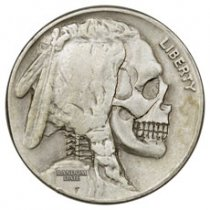 1913-1938 United States Hobo Nickel - Skull