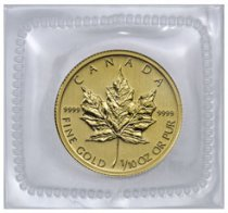 Random Date Canada 1/10 oz Gold Maple Leaf $5 GEM BU Original Mint Plastic